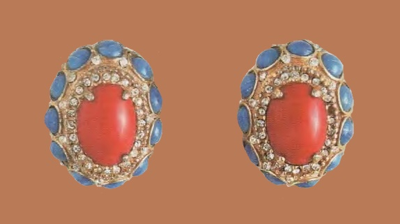 Red Earrings. Gilding, pink cabochons, rhinestone, artificial turquoise. 1960's. d 2.5 cm. £ 115-130
