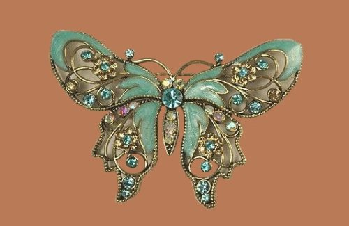 Rhinestone and enamel butterfly brooch by Avon