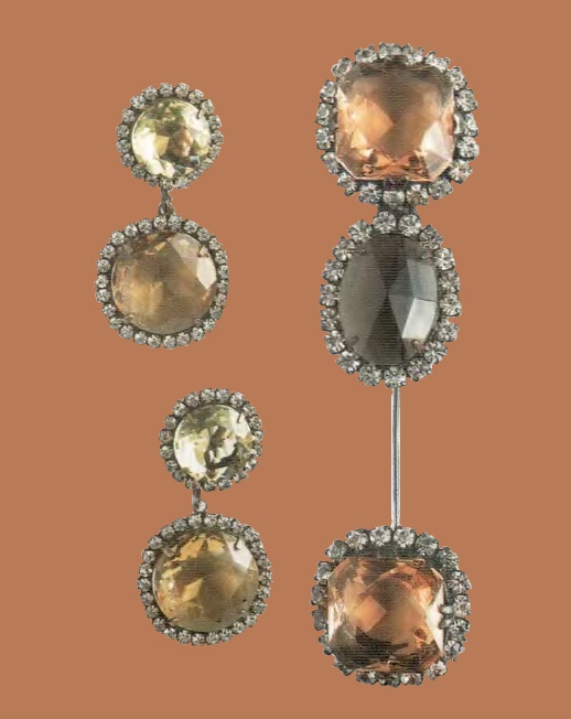 Set of brooch and earrings. Cabochons from Czech crystal, and rock crystal, 1960s. £ 630-665