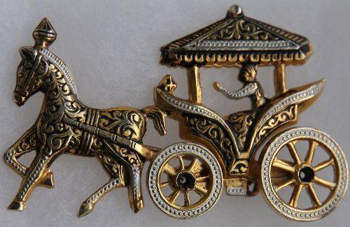 'Chariot' Vintage Brooch, Spain