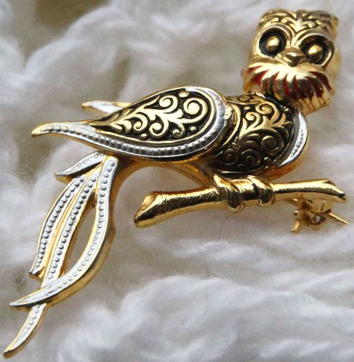 'Owl' Vintage Brooch, Damascene, Spain