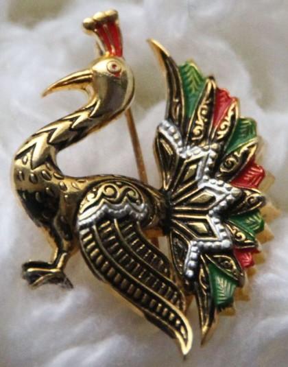 'Peacock' Vintage Brooch