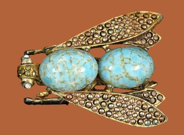 1960s fly brooch. Marcasite, gold tone metal, rhinestones