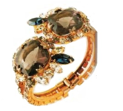 1970s bracelet Gold-plated silver, rock crystal, artificial amethysts, £ 115-120 MAC