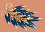Art Deco Blue Leaves Gold Plated Pin