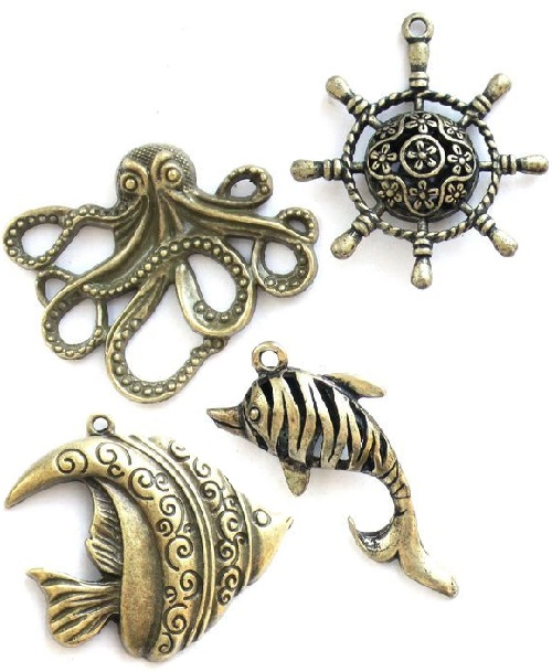 Marine theme Bronze pendants