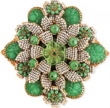 Charming Brooch. imitation pearls, cast glass. 1980