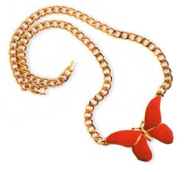 Butterfly Necklace. Gold tone metal, red enamel. 1970s Butterfly 7.5 cm £ 15-20 MILLB