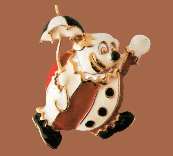 Clown with an umbrella brooch. The metal is a golden tone, red, black and white enamel. 1970. 5cm. £ 20-25 JJ