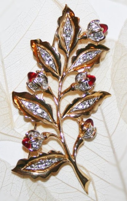 Branch with leaves and flowers vintage brooch