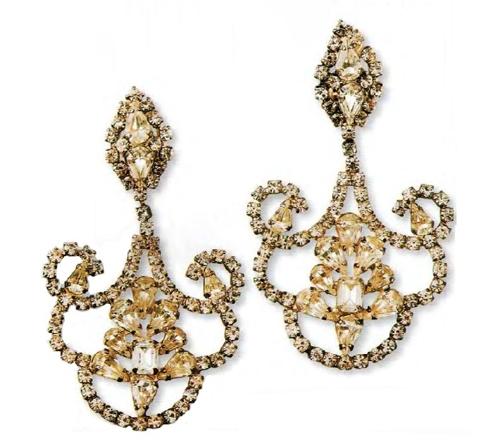 Earrings, marcasite, transparent and pale green rhinestone of rectangular and pear shape. 1980s d 8.25 cm £ 95-105 JJ