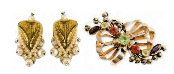 Earrings with artificial pearls and Brooch-bow - silver, peridot, artificial pearls, glass. pink quartz, rhinestone. £ 200-250
