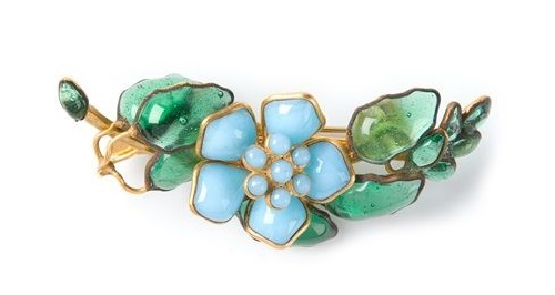 Delicate blue Gripoix brooch
