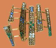 MCM Marcasite & Rhinestone modernist brooch