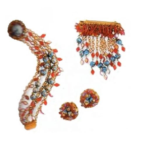 Made of pink Venetian glass bracelet, brooch and earrings - gilding, artificial topaz. A set with necklace £ 335