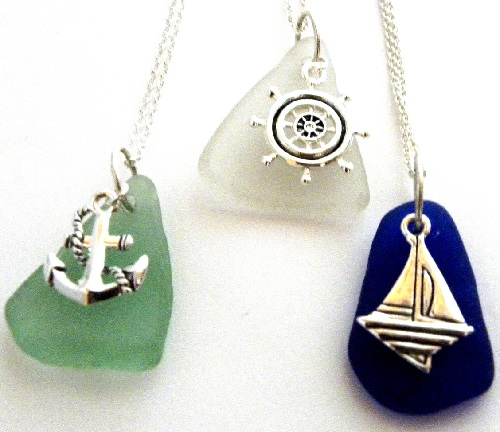Sea glass necklaces – nautical anchor, sailboat, and ship's wheel. Elizabeth Mason sea glass jewelry EJM Designs, US