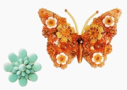 Butterfly brooch, $250 , 9,5 cm. Glass, pearl