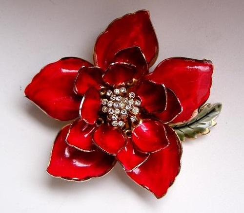 Beautiful Red Flower brooch