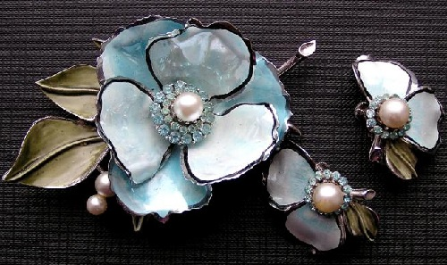 Set of brooch and clips