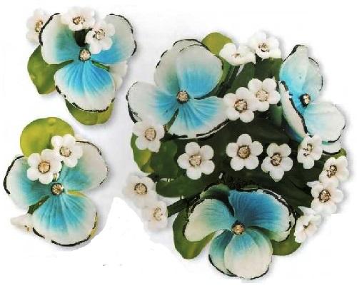 Viola vintage brooch and earrings