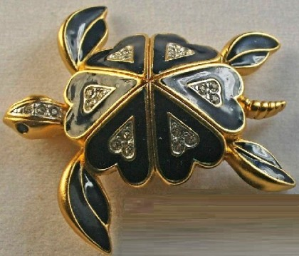 Turtle Brooch. Gold Plated, Black Enamel, Rhinestones