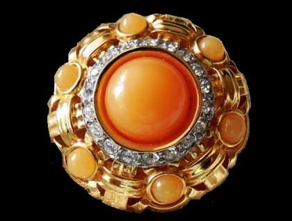 Round gold tone vintage brooch, rhinestones glass cabochons