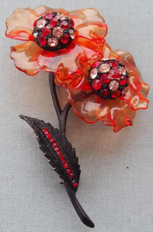 Red poppy Vintage brooch