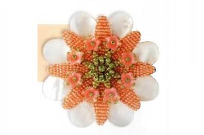 Artificial pearl floral motif