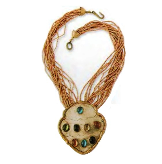 clay-covered necklace decorated with glass beads, gold-tone metal, 1970s. 51 cm, 9.5 cm pendant. £ 45-55 JJ