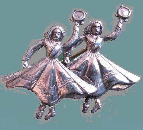 1950s vintage brooch - Dancing Gypsy women