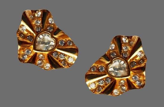 1980s gold tone clear rhinestones clip on earrings. 4.5 cm