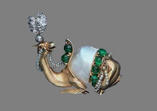 A diamond and gem-set brooch, by Verdura, circa 1952