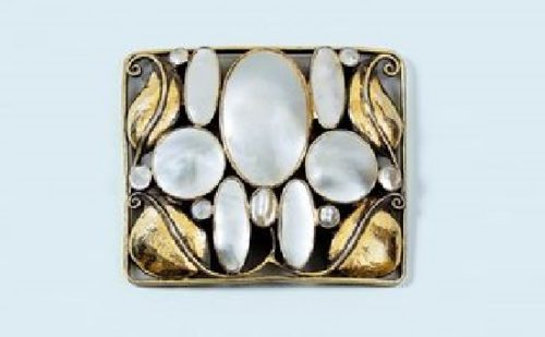 Art Deco brooch. Mother of pearl, gold, silver