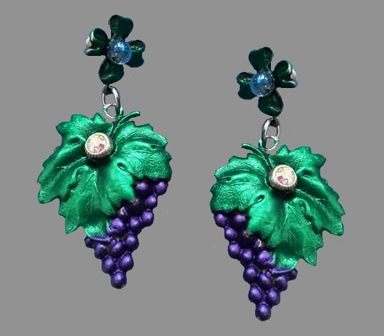 Blue Grapes dangling earring clips. Brass alloy, enamel, crystals. 8.5 cm. 1990 - 1994