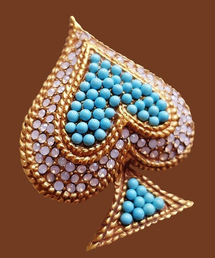 Blue Heart brooch. Gold plated brass, cabochons, art glass. 5 cm