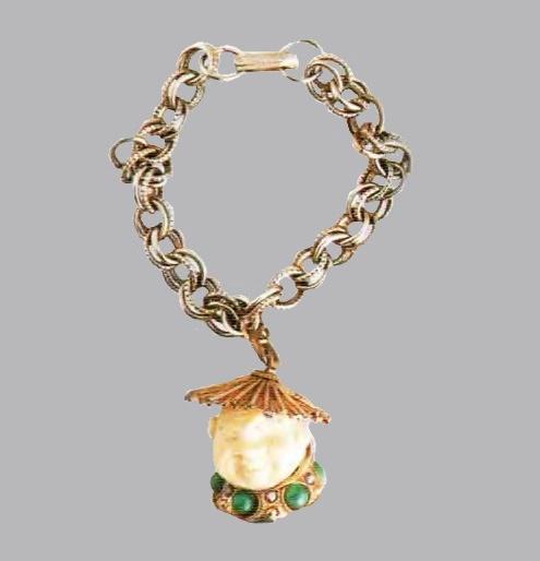 Bracelet with pendant. Silver tone metal, ivory, glass cabochons. aurora borealis. 1950's. Bracelet 18 cm, Pendant 3 cm £ 100-120 CRIS