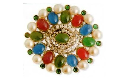 Brooch. cabochons, imitation pearls, rock crystal. 1970