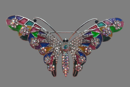 Butterfly Large brooch. Silver tone metal, Swarovski crystals, enamel. 9.5 cm. 1990s