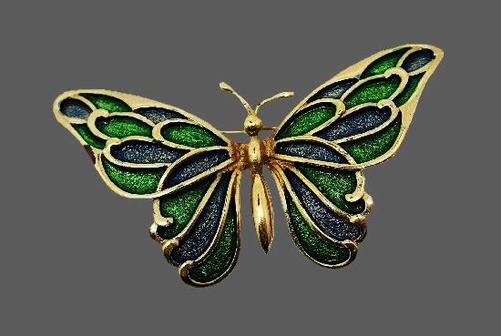 Butterfly brooch. Gold tone alloy, blue and green glitter enamel. 1980s