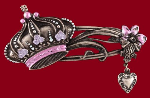 Crown brooch. 1980's. Brass, crystals, enamel. 7x4 cm