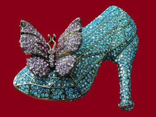 Crystal shoe brooch. 1980s. Swarovski crystals, jewelry alloy. 8,5 cm