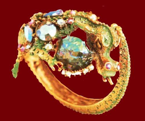 Dragon Bracelet. Gold tone metal, green enamels, aurora borealis. 1950's. 18 cm £ 450-500 CRIS
