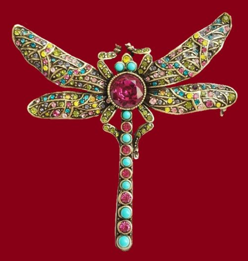 Dragonfly brooch. Gold tone metal, blackening, Swarovski crystals, 6.8 cm. 1990s