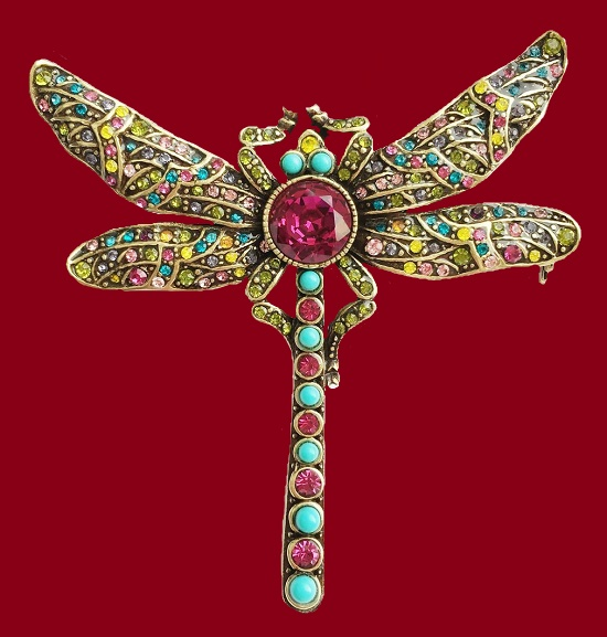 Dragonfly brooch. Gold tone metal, blackening, Swarovski crystals, 6.8 cm. 1990s