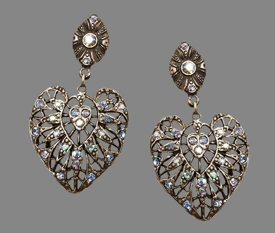 Filigree heart silver tone earrings. Pewter, crystals
