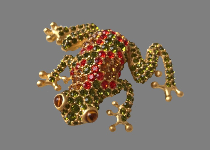 Frog brooch. Orange, brown and olive crystals, matte gilding, lucite. 6 cm