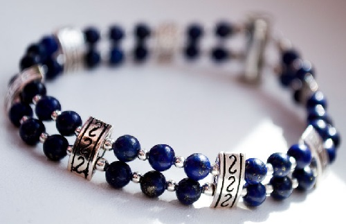Silver and dark blue beads bracelet Givenchy vintage bracelet