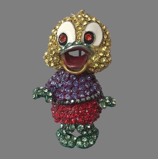 Glamorous duck vintage brooch. Gold tone metal, Swarovski crystals. 5 cm, 1990s