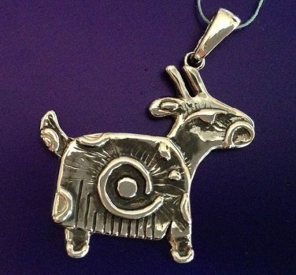 Goat or sheep (19 February 2015), element wood. Brooch-pendant Goat, enameled, made by S. Kudryavtseva
