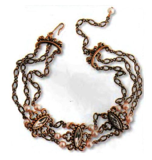 Gold tone necklace, artificial pearls, transparent rock crystal. 1970s. 35.5 cm. £ 20-25 ABIJ